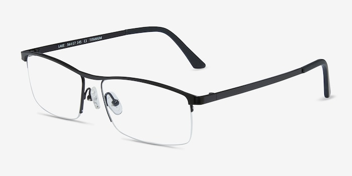 Lake Black Titanium Eyeglass Frames from EyeBuyDirect, Angle View