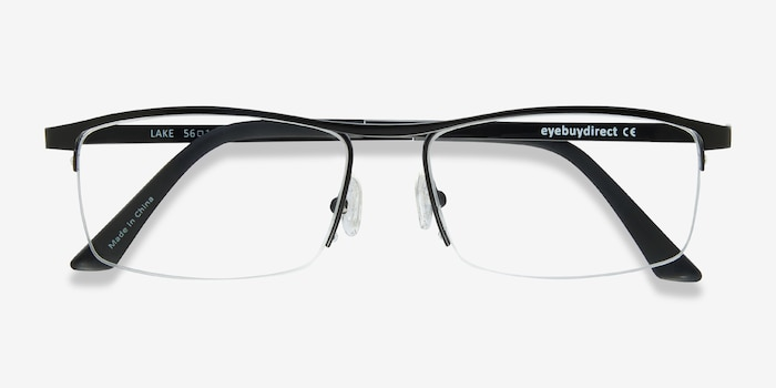 Lake Black Titanium Eyeglass Frames from EyeBuyDirect, Closed View