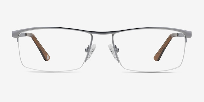 Lake Gray Titanium Eyeglass Frames from EyeBuyDirect, Front View