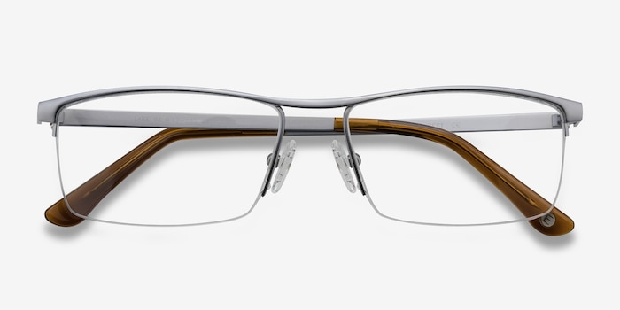 Lake Gray Titanium Eyeglass Frames from EyeBuyDirect, Closed View