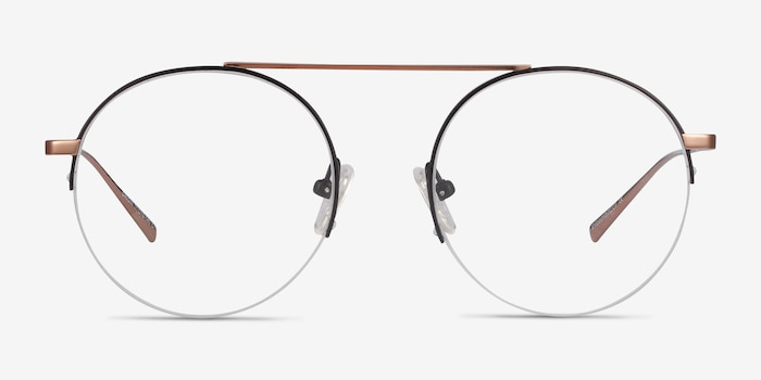 Origin Black Titanium Eyeglass Frames from EyeBuyDirect, Front View