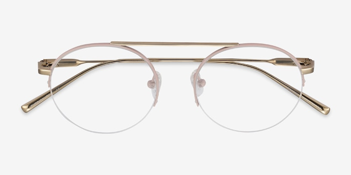 Origin Pink Titanium Eyeglass Frames from EyeBuyDirect, Closed View