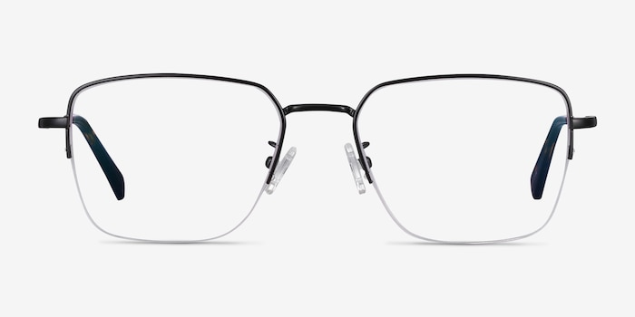 James Black Titanium Eyeglass Frames from EyeBuyDirect, Front View