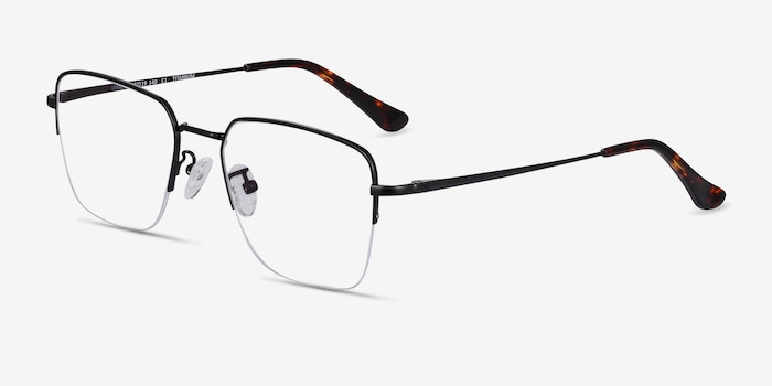 James Black Titanium Eyeglass Frames from EyeBuyDirect, Angle View