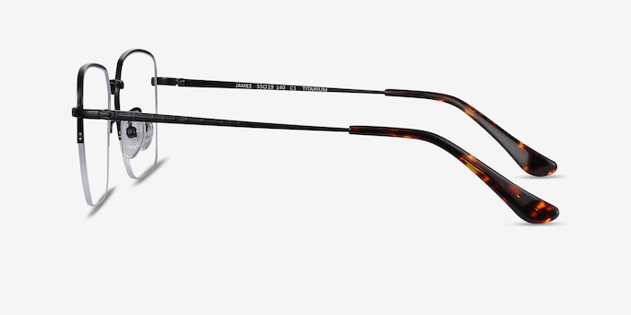 James Black Titanium Eyeglass Frames from EyeBuyDirect, Side View