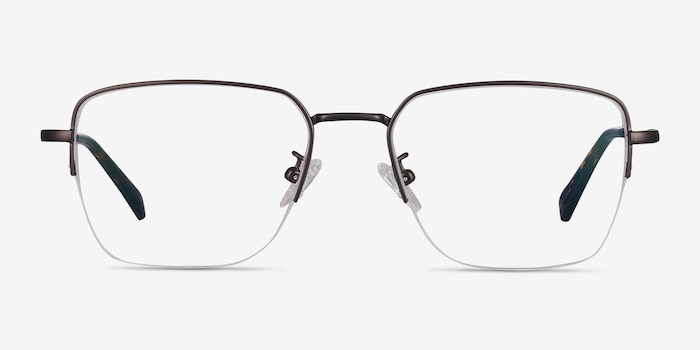 James Gunmetal Titanium Eyeglass Frames from EyeBuyDirect, Front View