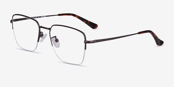 James Gunmetal Titanium Eyeglass Frames from EyeBuyDirect, Angle View