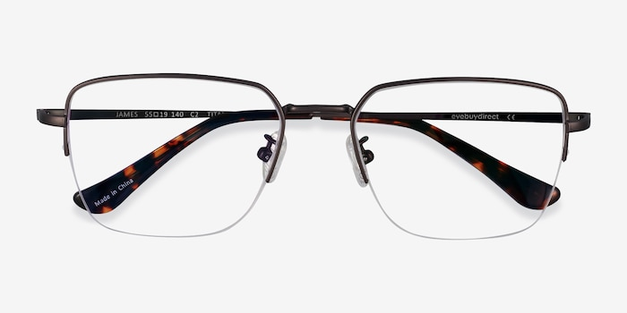 James Gunmetal Titanium Eyeglass Frames from EyeBuyDirect, Closed View