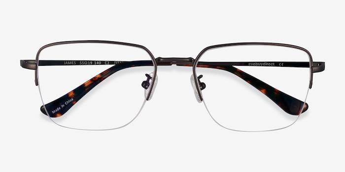 James Gunmetal Titane Montures de Lunette de vue d'EyeBuyDirect, Vue Rapprochée