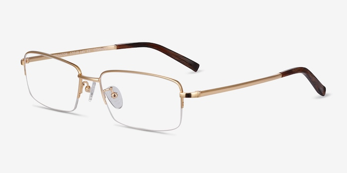 Remington Gold Titanium Eyeglass Frames from EyeBuyDirect, Angle View