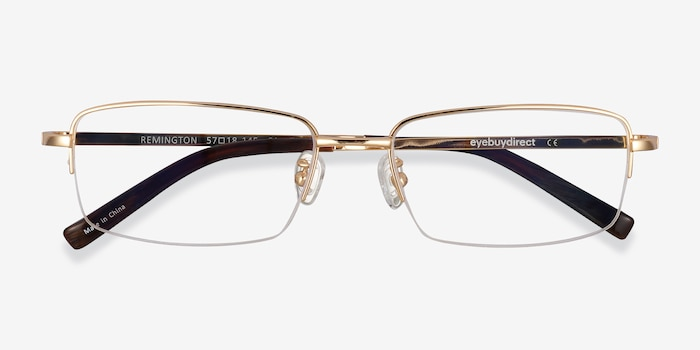 Remington Gold Titanium Eyeglass Frames from EyeBuyDirect, Closed View