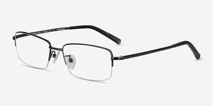 Remington Gunmetal Titanium Eyeglass Frames from EyeBuyDirect, Angle View