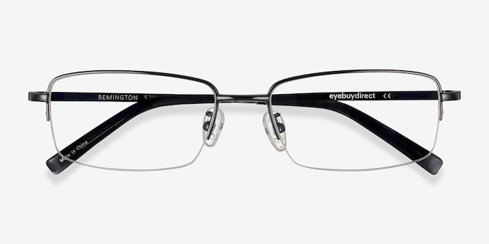 Remington Gunmetal Titanium Eyeglass Frames from EyeBuyDirect, Closed View