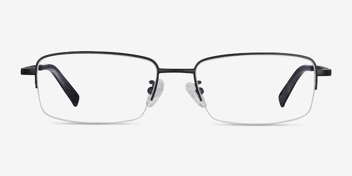 Remington Black Titanium Eyeglass Frames from EyeBuyDirect, Front View