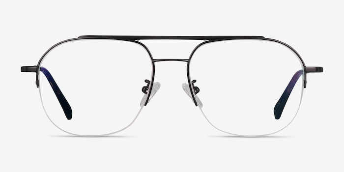 Conrad Black Titanium Eyeglass Frames from EyeBuyDirect, Front View