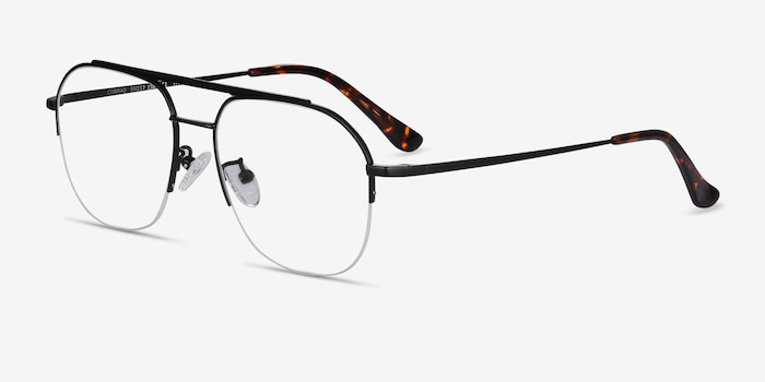 Conrad Black Titanium Eyeglass Frames from EyeBuyDirect, Angle View