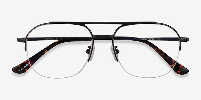 Conrad Black Titanium Eyeglass Frames from EyeBuyDirect, Closed View