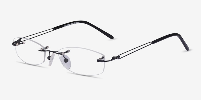 Matera Black Metal Eyeglass Frames from EyeBuyDirect, Angle View