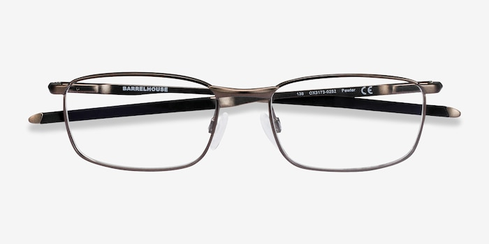 Oakley Barrelhouse Pewter Metal Eyeglass Frames from EyeBuyDirect, Closed View