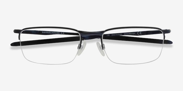 Oakley Barrelhouse 0.5 Matte Midnight Metal Eyeglass Frames from EyeBuyDirect, Closed View