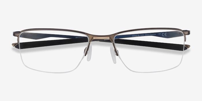 Oakley Socket 5.5 Satin Pewter Metal Eyeglass Frames from EyeBuyDirect, Closed View