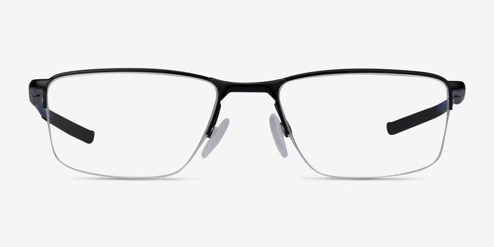 Oakley Socket 5.5 Satin Black & Blue Metal Eyeglass Frames from EyeBuyDirect, Front View