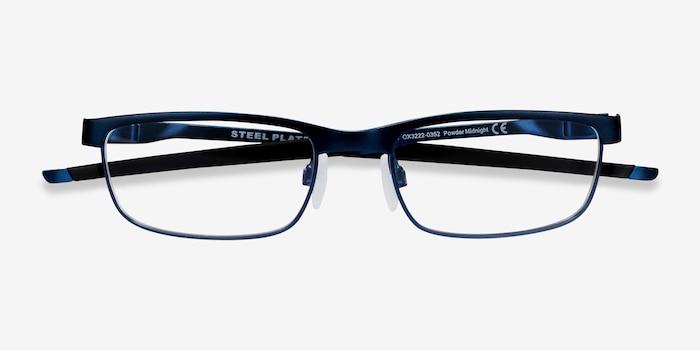 Oakley Steel Plate Powder Midnight Metal Eyeglass Frames from EyeBuyDirect, Closed View