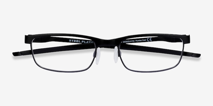 Oakley Steel Plate Powder Coal Metal Eyeglass Frames from EyeBuyDirect, Closed View