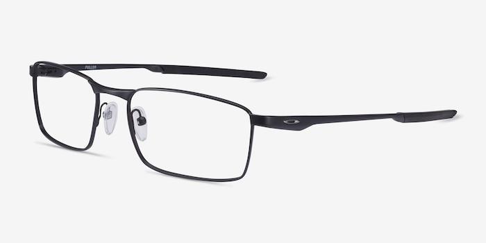 Oakley Fuller Satin Black Metal Eyeglass Frames from EyeBuyDirect, Angle View
