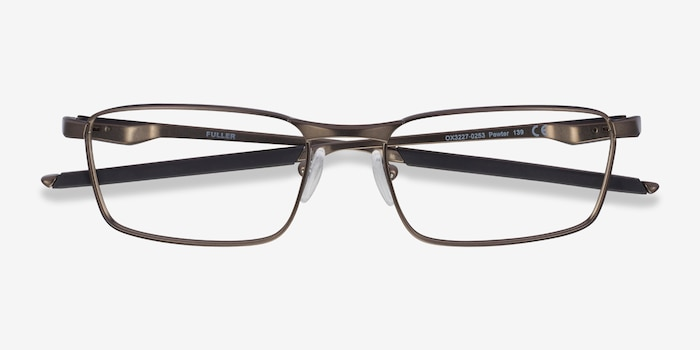 Oakley Fuller Pewter Metal Eyeglass Frames from EyeBuyDirect, Closed View