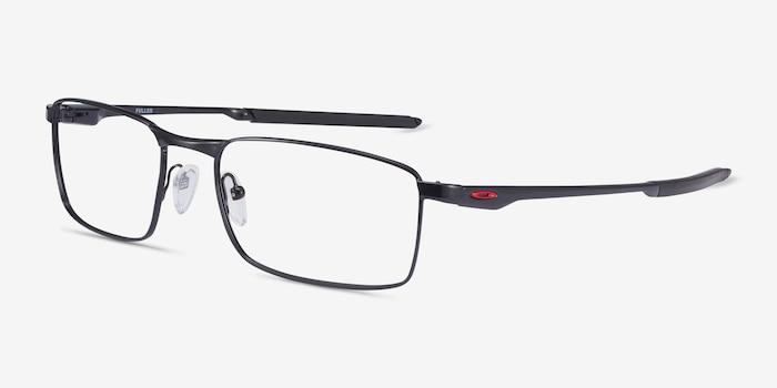 Oakley Fuller Polished Black Metal Eyeglass Frames from EyeBuyDirect, Angle View
