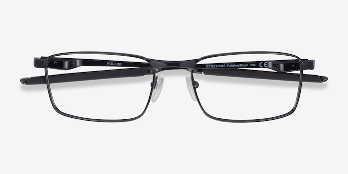 Oakley Fuller Polished Black Metal Eyeglass Frames from EyeBuyDirect, Closed View