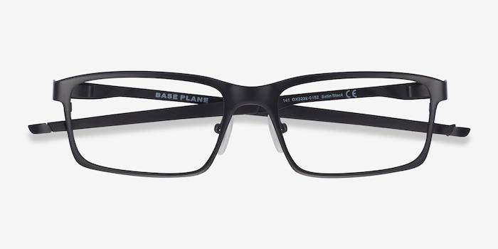 Oakley Base Plane Satin Black Metal Eyeglass Frames from EyeBuyDirect, Closed View