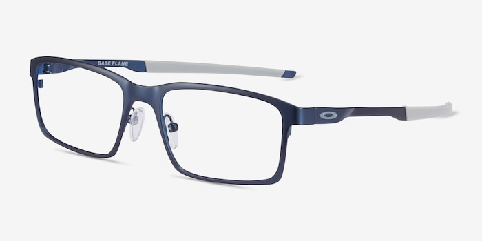 Oakley Base Plane Matte Midnight Metal Eyeglass Frames from EyeBuyDirect, Angle View