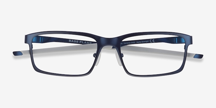 Oakley Base Plane Matte Midnight Metal Eyeglass Frames from EyeBuyDirect, Closed View