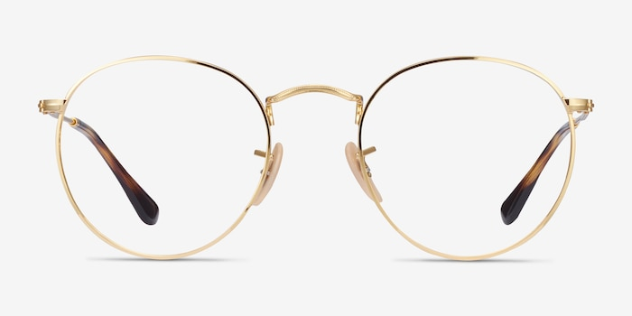 Ray-Ban RB3447V Gold Metal Eyeglass Frames from EyeBuyDirect, Front View