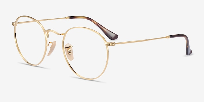 Ray-Ban RB3447V Gold Metal Eyeglass Frames from EyeBuyDirect, Angle View