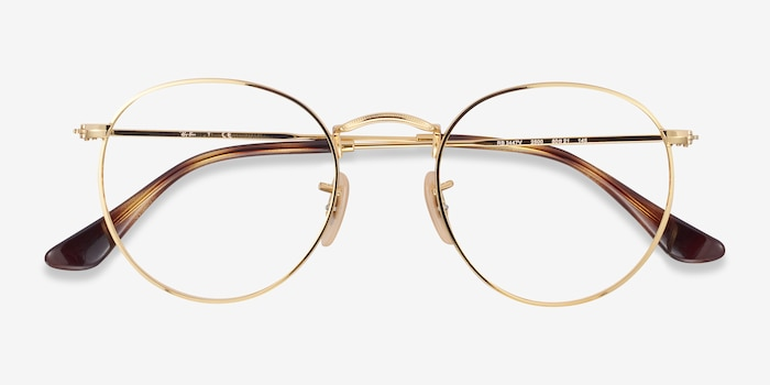 Ray-Ban RB3447V Gold Metal Eyeglass Frames from EyeBuyDirect, Closed View