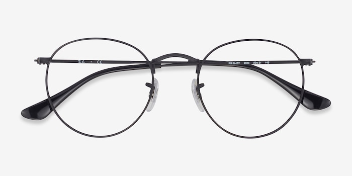 Ray-Ban RB3447V Black Metal Eyeglass Frames from EyeBuyDirect, Closed View
