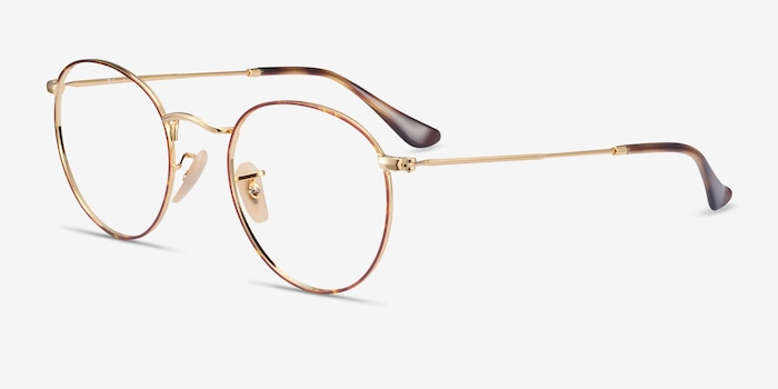 Ray-Ban RB3447V Tortoise & Gold Metal Eyeglass Frames from EyeBuyDirect, Angle View
