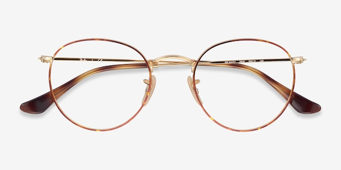 Ray-Ban RB3447V Tortoise & Gold Metal Eyeglass Frames from EyeBuyDirect, Closed View