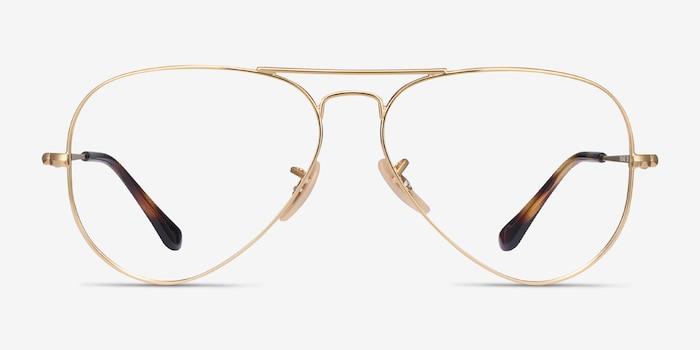 Ray-Ban RB6489 Gold Metal Eyeglass Frames from EyeBuyDirect, Front View