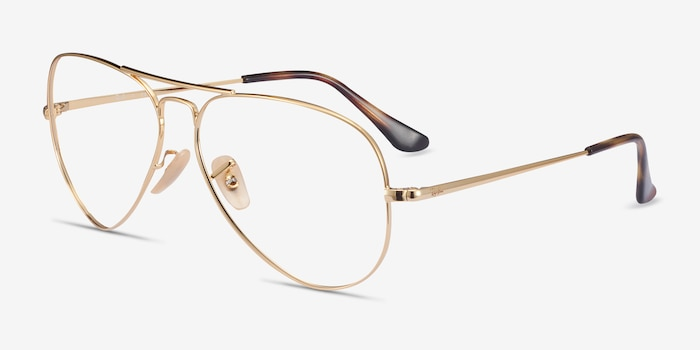 Ray-Ban RB6489 Gold Metal Eyeglass Frames from EyeBuyDirect, Angle View