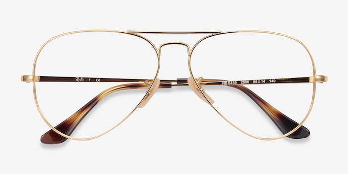 Ray-Ban RB6489 Gold Metal Eyeglass Frames from EyeBuyDirect, Closed View