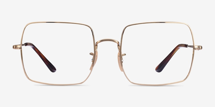 Ray-Ban Square Gold Metal Eyeglass Frames from EyeBuyDirect, Front View