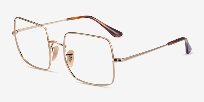 Ray-Ban Square Gold Metal Eyeglass Frames from EyeBuyDirect, Angle View