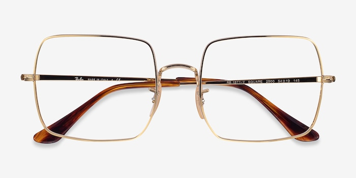 Ray-Ban Square Gold Metal Eyeglass Frames from EyeBuyDirect, Closed View