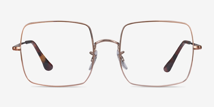 Ray-Ban Square Bronze Metal Eyeglass Frames from EyeBuyDirect, Front View