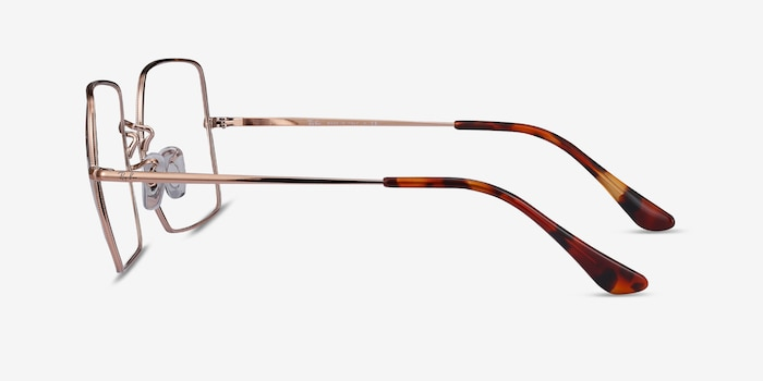 Ray-Ban Square Bronze Metal Eyeglass Frames from EyeBuyDirect, Side View
