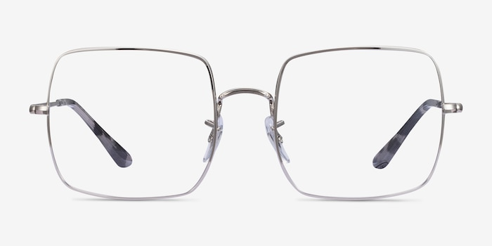 Ray-Ban Square Silver Metal Eyeglass Frames from EyeBuyDirect, Front View